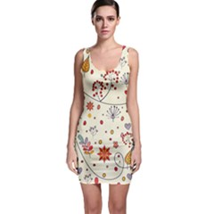 Spring Floral Pattern With Butterflies Sleeveless Bodycon Dress
