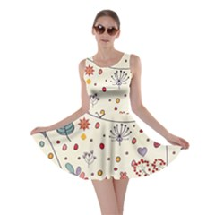 Spring Floral Pattern With Butterflies Skater Dress