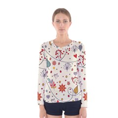Spring Floral Pattern With Butterflies Women s Long Sleeve Tee