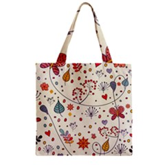 Spring Floral Pattern With Butterflies Zipper Grocery Tote Bag