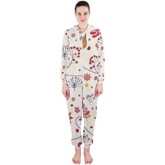 Spring Floral Pattern With Butterflies Hooded Jumpsuit (Ladies)