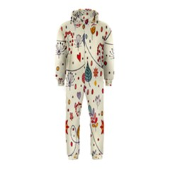 Spring Floral Pattern With Butterflies Hooded Jumpsuit (Kids)