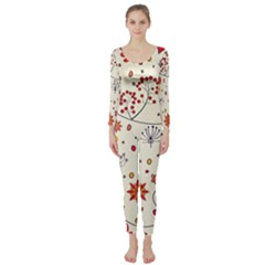 Spring Floral Pattern With Butterflies Long Sleeve Catsuit