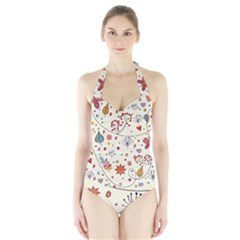 Spring Floral Pattern With Butterflies Halter Swimsuit