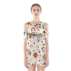 Spring Floral Pattern With Butterflies Shoulder Cutout One Piece