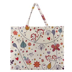 Spring Floral Pattern With Butterflies Zipper Large Tote Bag