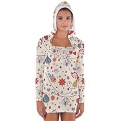 Spring Floral Pattern With Butterflies Women s Long Sleeve Hooded T-shirt