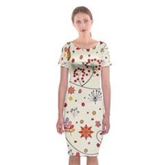 Spring Floral Pattern With Butterflies Classic Short Sleeve Midi Dress