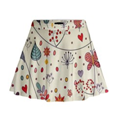 Spring Floral Pattern With Butterflies Mini Flare Skirt