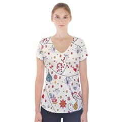 Spring Floral Pattern With Butterflies Short Sleeve Front Detail Top