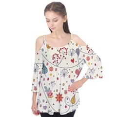 Spring Floral Pattern With Butterflies Flutter Tees