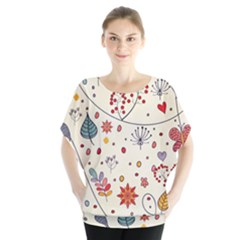 Spring Floral Pattern With Butterflies Blouse