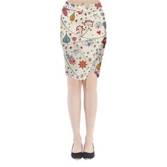 Spring Floral Pattern With Butterflies Midi Wrap Pencil Skirt