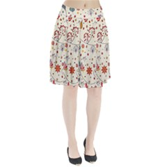 Spring Floral Pattern With Butterflies Pleated Skirt