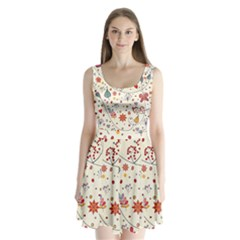 Spring Floral Pattern With Butterflies Split Back Mini Dress