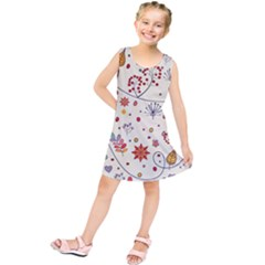 Spring Floral Pattern With Butterflies Kids  Tunic Dress
