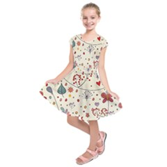 Spring Floral Pattern With Butterflies Kids  Short Sleeve Dress
