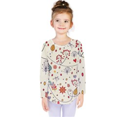 Spring Floral Pattern With Butterflies Kids  Long Sleeve Tee
