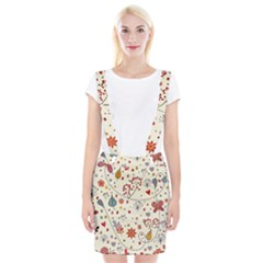 Spring Floral Pattern With Butterflies Suspender Skirt