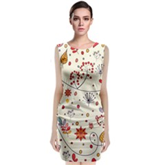 Spring Floral Pattern With Butterflies Sleeveless Velvet Midi Dress