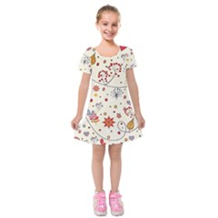 Spring Floral Pattern With Butterflies Kids  Short Sleeve Velvet Dress