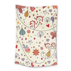 Spring Floral Pattern With Butterflies Small Tapestry