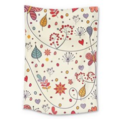 Spring Floral Pattern With Butterflies Large Tapestry