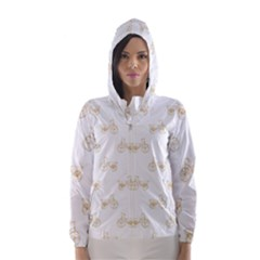 Retro Bicycles Motif Vintage Pattern Hooded Wind Breaker (Women)