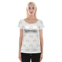 Retro Bicycles Motif Vintage Pattern Women s Cap Sleeve Top