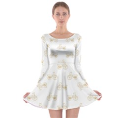 Retro Bicycles Motif Vintage Pattern Long Sleeve Skater Dress