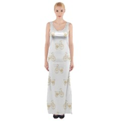 Retro Bicycles Motif Vintage Pattern Maxi Thigh Split Dress