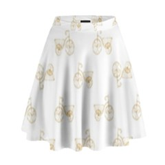 Retro Bicycles Motif Vintage Pattern High Waist Skirt