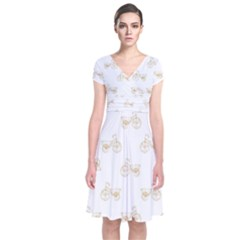 Retro Bicycles Motif Vintage Pattern Short Sleeve Front Wrap Dress
