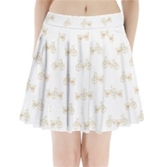 Retro Bicycles Motif Vintage Pattern Pleated Mini Skirt