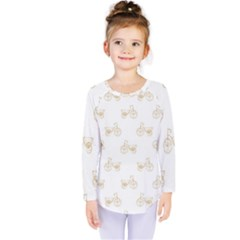 Retro Bicycles Motif Vintage Pattern Kids  Long Sleeve Tee