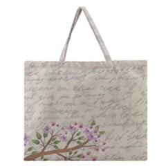 Cherry blossom Zipper Large Tote Bag