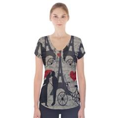 Love letter - Paris Short Sleeve Front Detail Top
