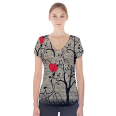 Love letter Short Sleeve Front Detail Top