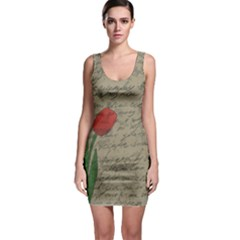 Vintage tulips Sleeveless Bodycon Dress