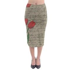 Vintage tulips Midi Pencil Skirt