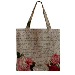 Vintage roses Zipper Grocery Tote Bag