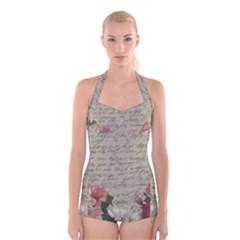 Vintage roses Boyleg Halter Swimsuit