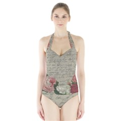 Vintage roses Halter Swimsuit
