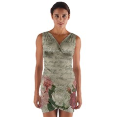 Vintage roses Wrap Front Bodycon Dress
