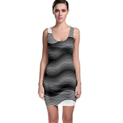Two Layers Consisting Of Curves With Identical Inclination Patterns Sleeveless Bodycon Dress