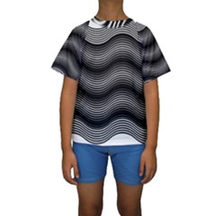 Two Layers Consisting Of Curves With Identical Inclination Patterns Kids  Short Sleeve Swimwear