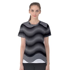 Two Layers Consisting Of Curves With Identical Inclination Patterns Women s Cotton Tee