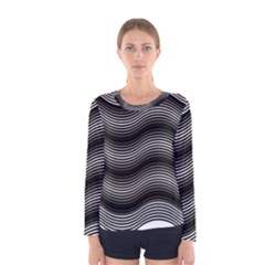 Two Layers Consisting Of Curves With Identical Inclination Patterns Women s Long Sleeve Tee