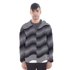 Two Layers Consisting Of Curves With Identical Inclination Patterns Hooded Wind Breaker (Men)