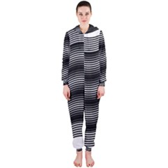 Two Layers Consisting Of Curves With Identical Inclination Patterns Hooded Jumpsuit (Ladies)